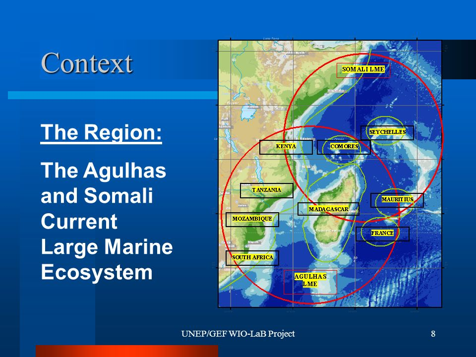 UNEP/GEF WIO-LaB Project8 Context The Region: The Agulhas and Somali Current Large Marine Ecosystem