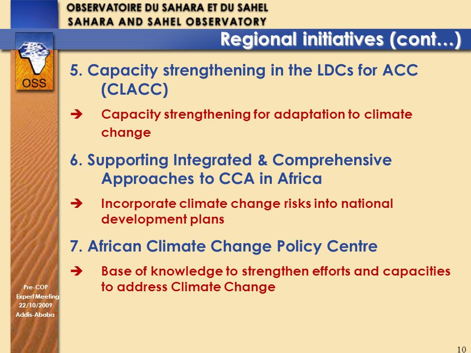 Pre-COP Expert Meeting 22/10/2009 Addis-Ababa 10 5. Capacity strengthening in the LDCs for ACC (CLACC) Capacity strengthening for adaptation to climat