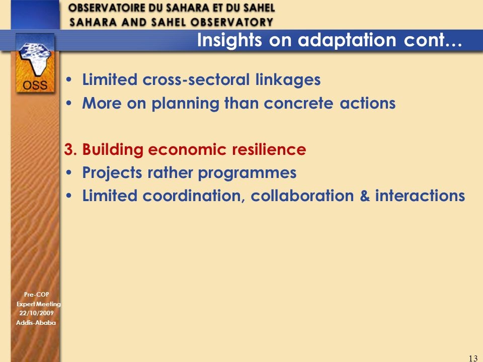 Pre-COP Expert Meeting 22/10/2009 Addis-Ababa 13 Insights on adaptation cont… Limited cross-sectoral linkages More on planning than concrete actions 3