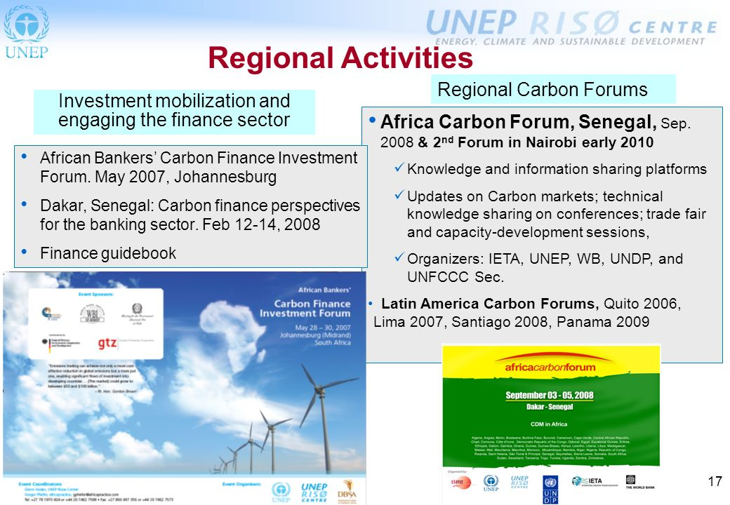 17 Regional Activities Africa Carbon Forum, Senegal, Sep.