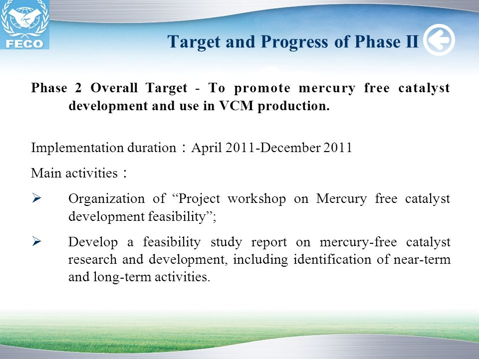 Target and Progress of Phase II Phase 2 Overall Target - To promote mercury free catalyst development and use in VCM production. Implementation durati