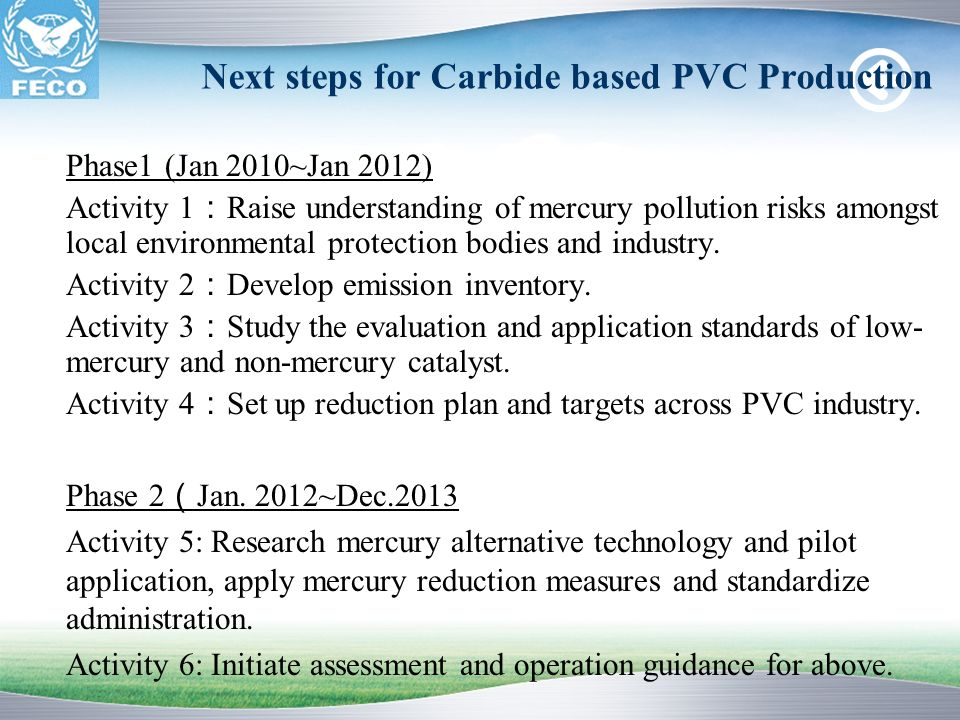 Next steps for Carbide based PVC Production Phase1 (Jan 2010~Jan 2012) Activity 1 Raise understanding of mercury pollution risks amongst local environ