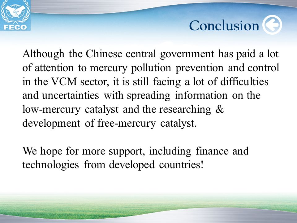 Conclusion Although the Chinese central government has paid a lot of attention to mercury pollution prevention and control in the VCM sector, it is st