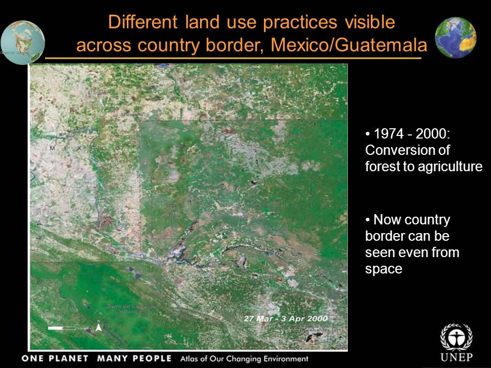 Angangueo – an important habitat for monarch butterflies, Mexico 1986: Images show degradation of forest area 2001: Between 1984 and 1999, 38% of forests were degraded