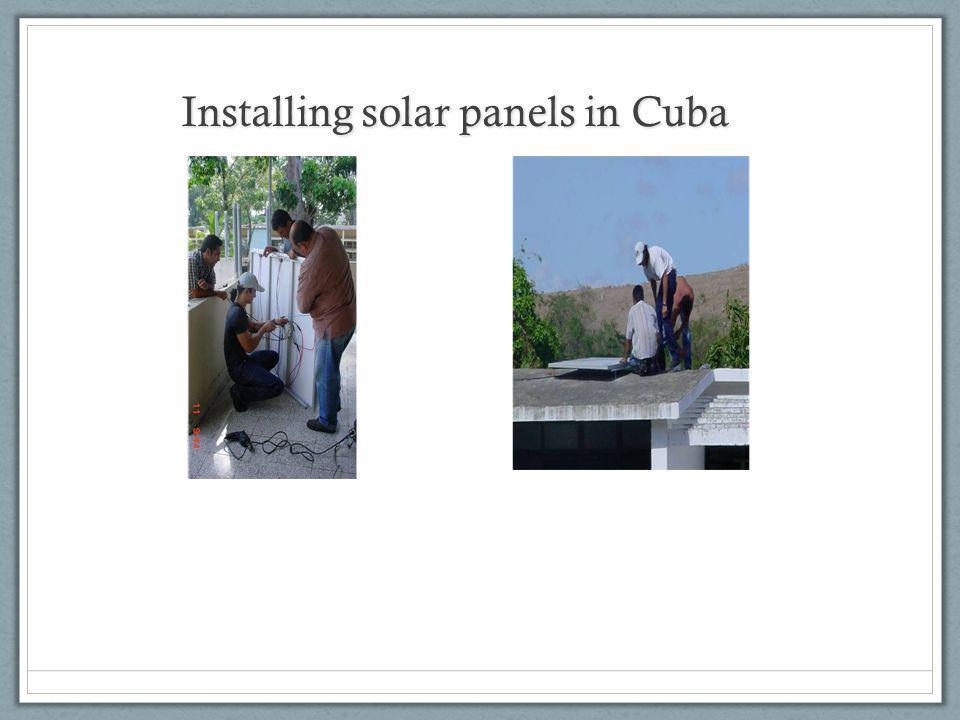 Installing solar panels in Cuba