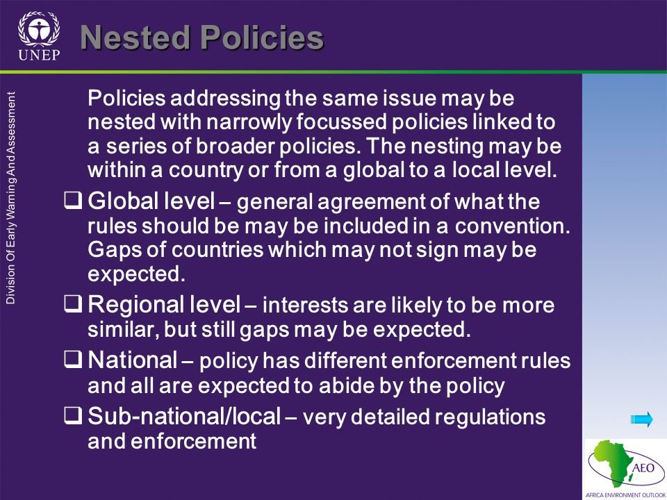 Division Of Early Warning And Assessment Nested Policies Policies addressing the same issue may be nested with narrowly focussed policies linked to a series of broader policies.