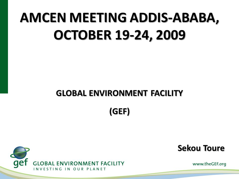 AMCEN MEETING ADDIS-ABABA, OCTOBER 19-24, 2009 GLOBAL ENVIRONMENT FACILITY (GEF) Sekou Toure