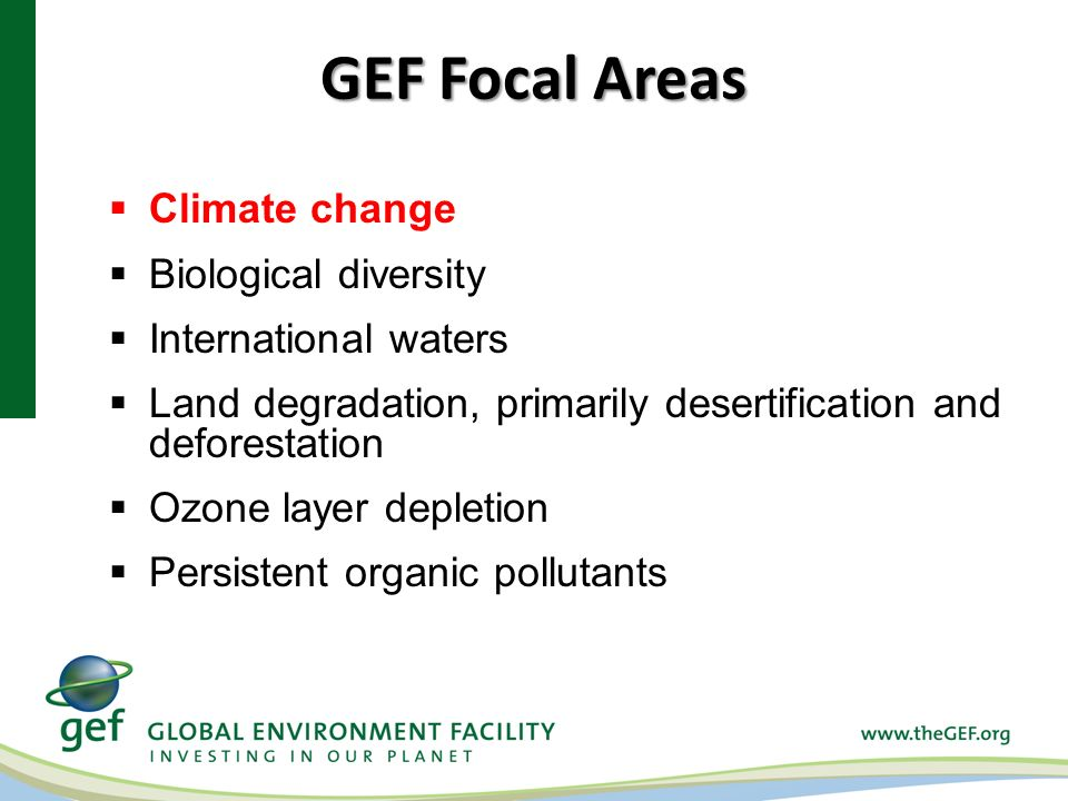 GEF Focal Areas Climate change Biological diversity International waters Land degradation, primarily desertification and deforestation Ozone layer dep
