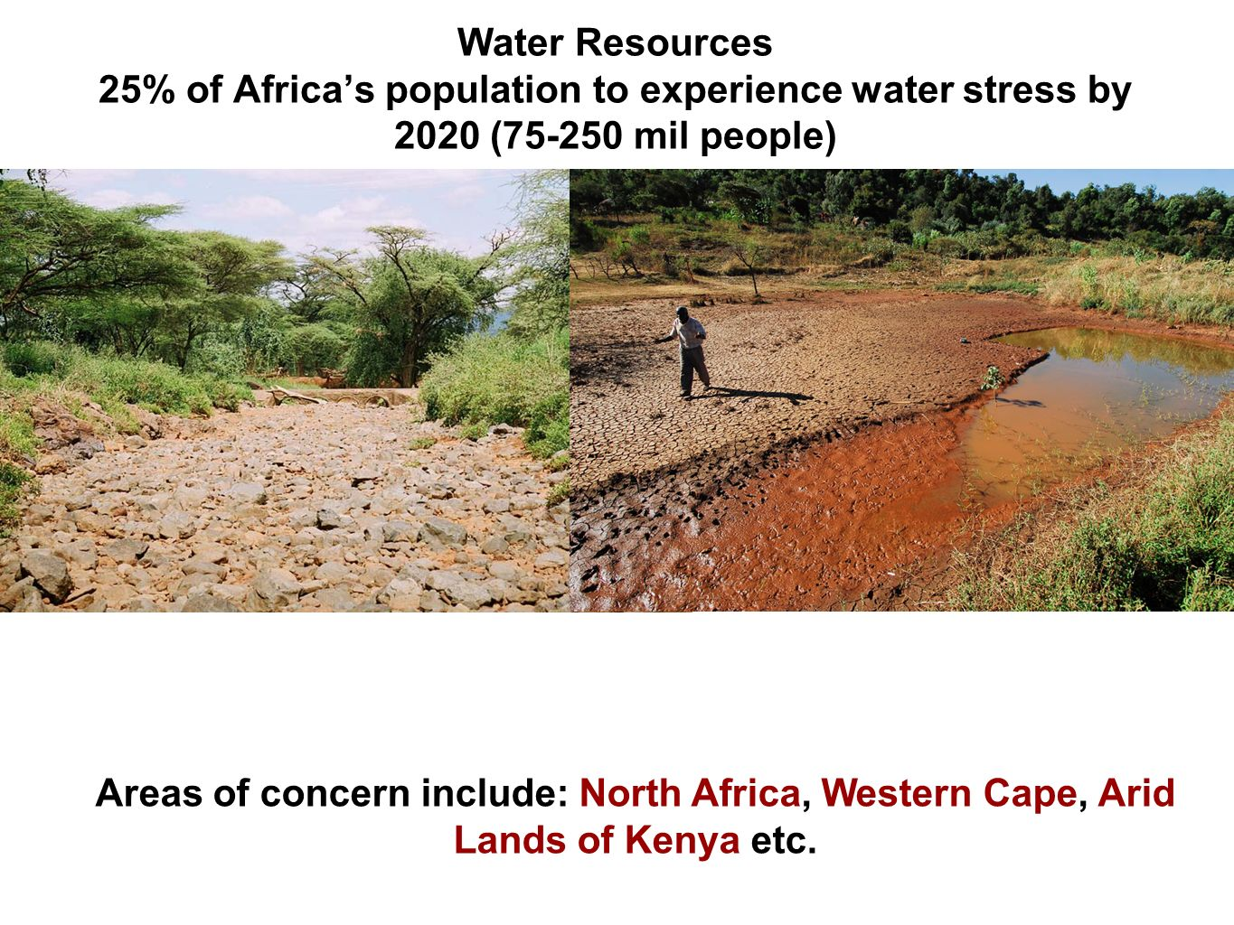Water Resources 25% of Africas population to experience water stress by 2020 ( mil people) Areas of concern include: North Africa, Western Cape, Arid Lands of Kenya etc.