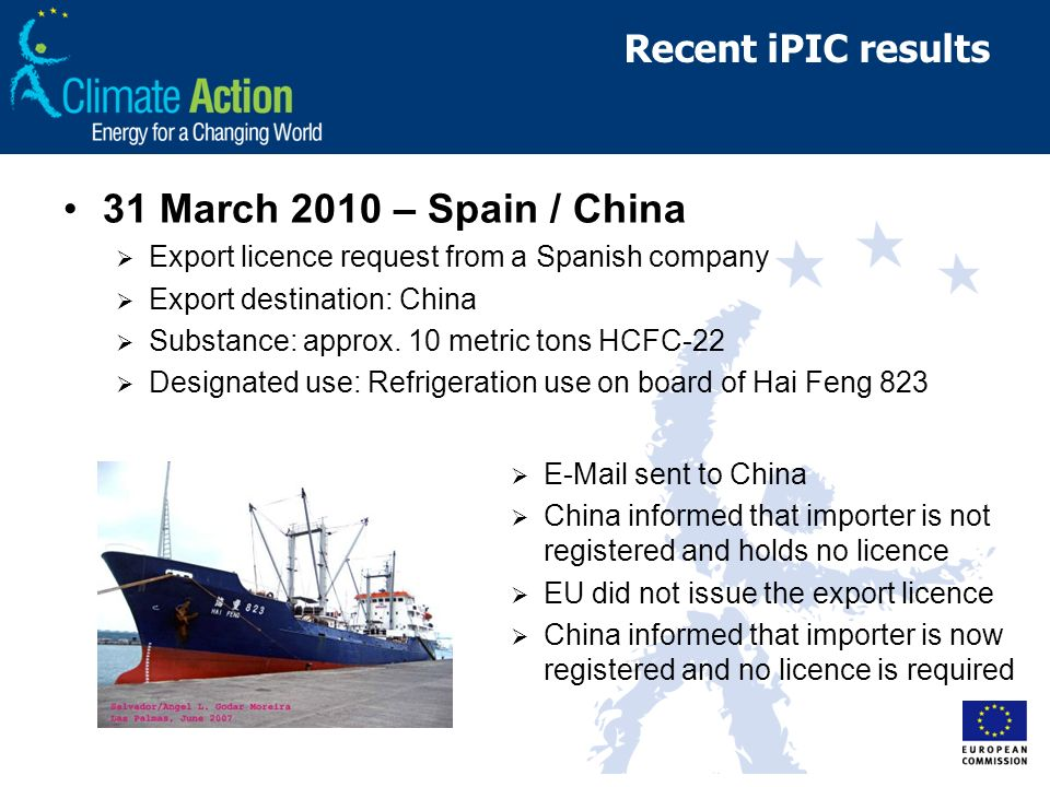Recent iPIC results 31 March 2010 – Spain / China Export licence request from a Spanish company Export destination: China Substance: approx. 10 metric