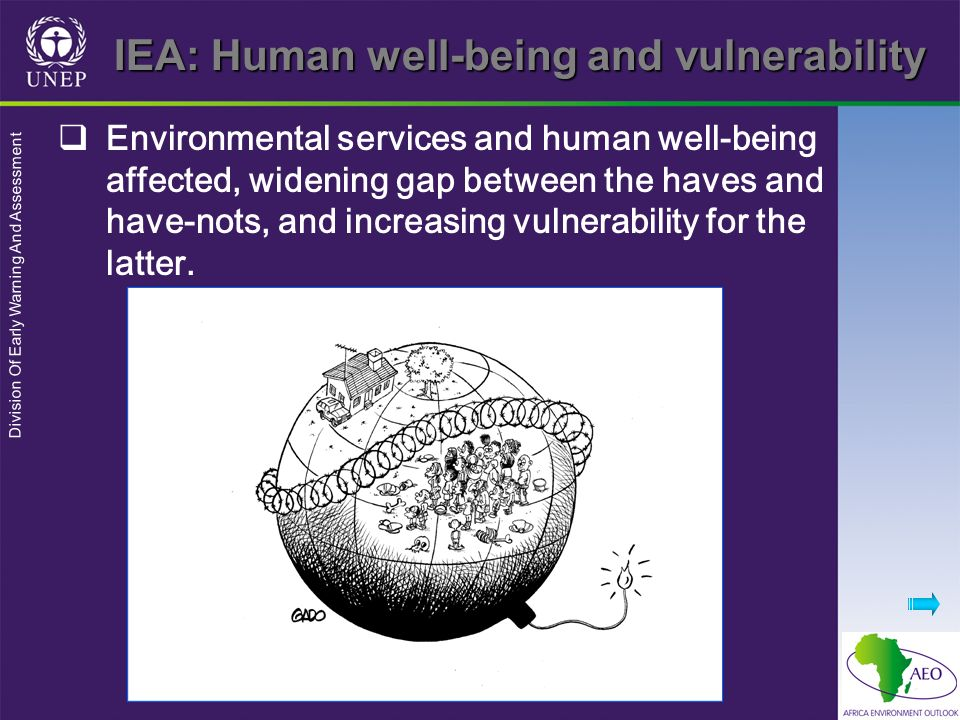 Division Of Early Warning And Assessment Environmental services and human well-being affected, widening gap between the haves and have-nots, and incre