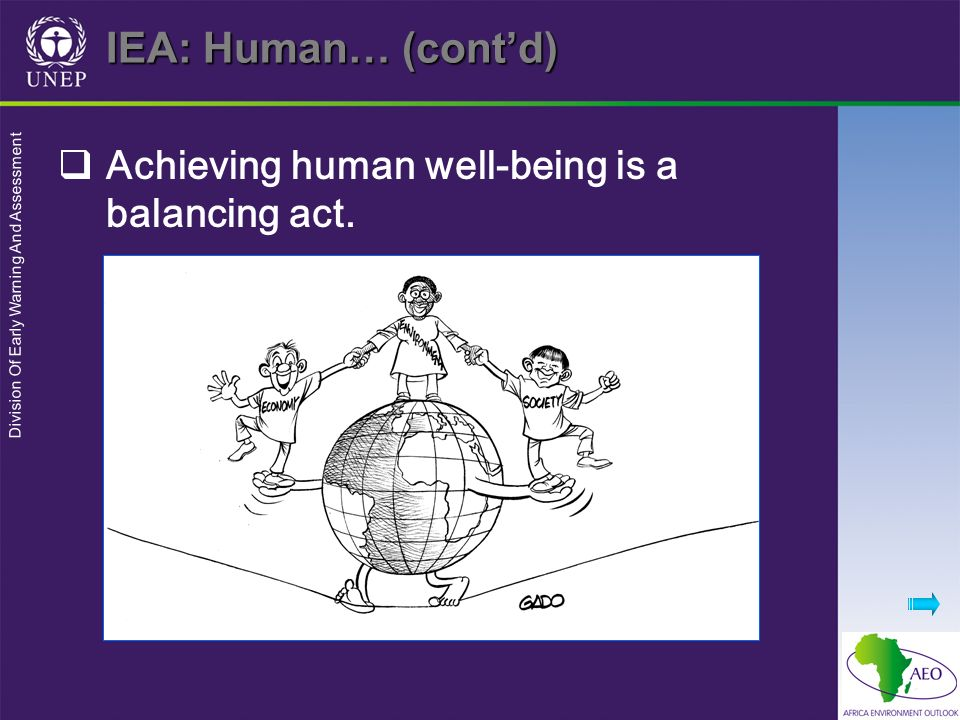 Division Of Early Warning And Assessment IEA: Human… (contd) Achieving human well-being is a balancing act.