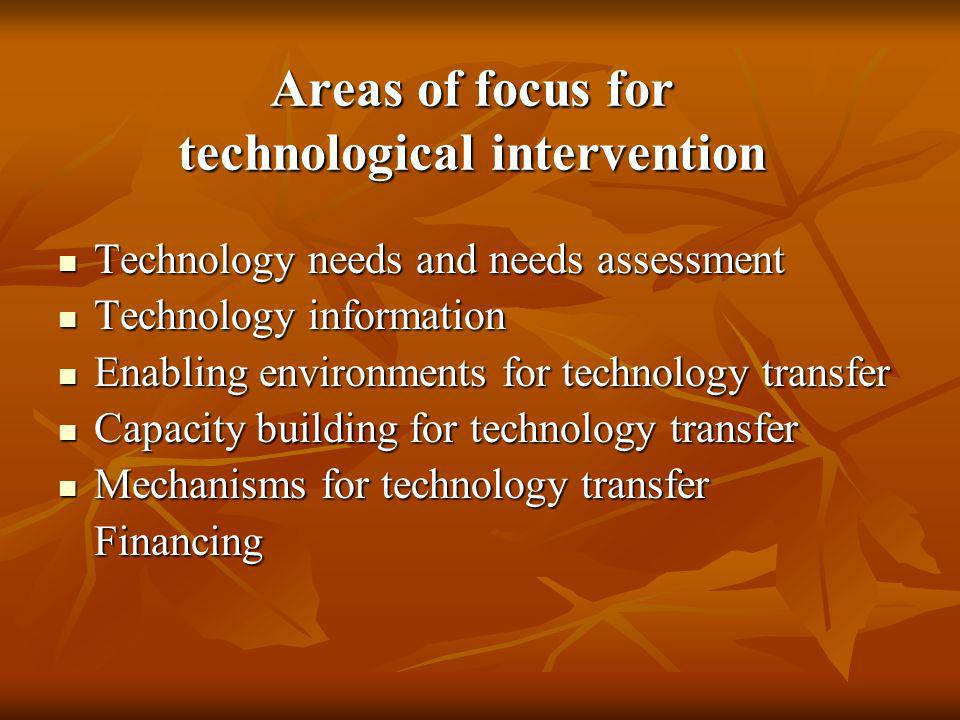 Areas of focus for technological intervention Technology needs and needs assessment Technology needs and needs assessment Technology information Techn