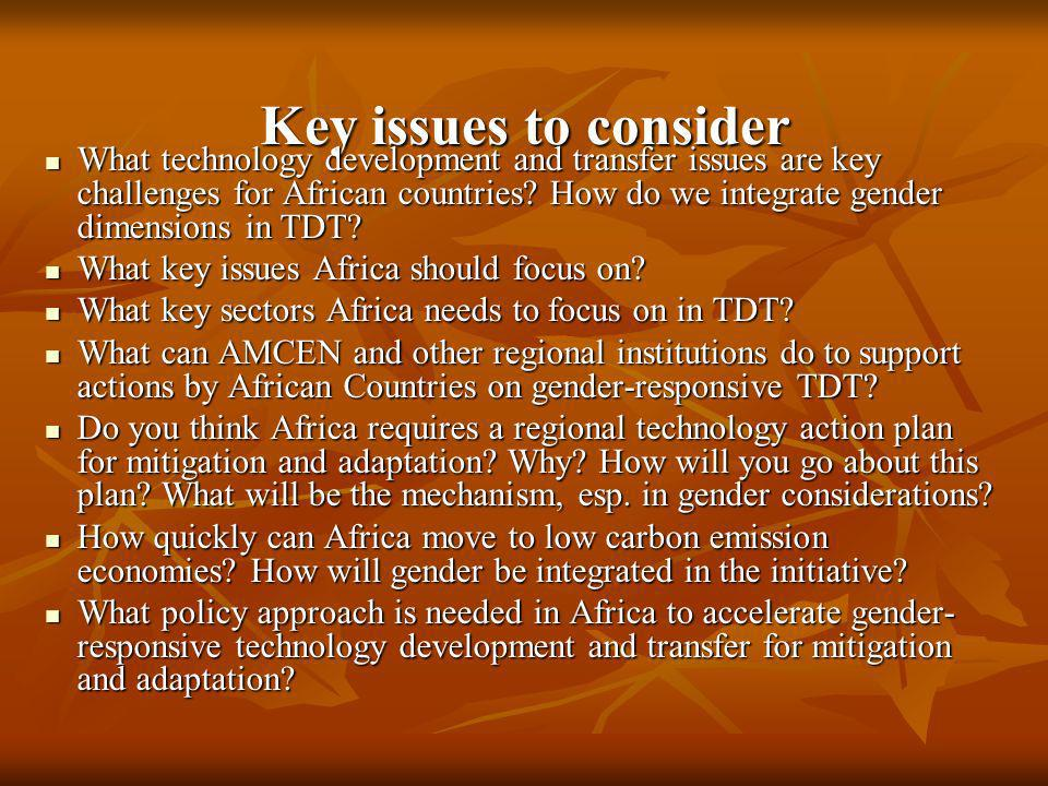 Key issues to consider What technology development and transfer issues are key challenges for African countries? How do we integrate gender dimensions
