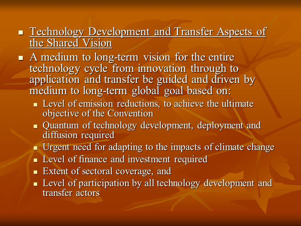 Technology Development and Transfer Aspects of the Shared Vision Technology Development and Transfer Aspects of the Shared Vision A medium to long-ter