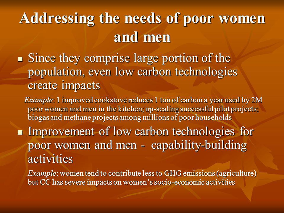 Addressing the needs of poor women and men Since they comprise large portion of the population, even low carbon technologies create impacts Since they