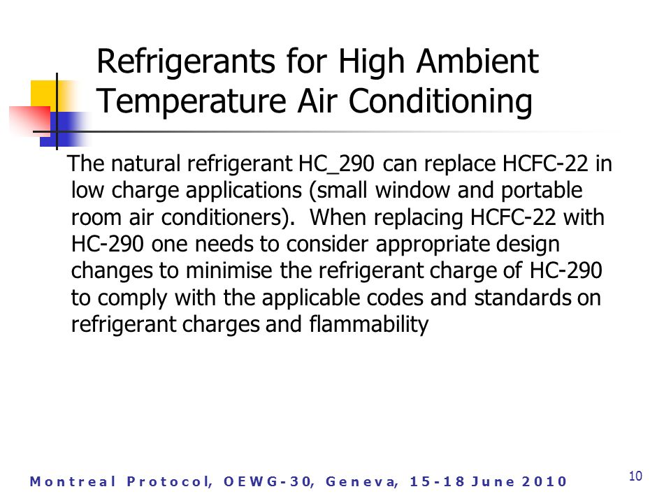 M o n t r e a l P r o t o c o l, O E W G - 3 0, G e n e v a, J u n e The natural refrigerant HC_290 can replace HCFC-22 in low charge applications (small window and portable room air conditioners).