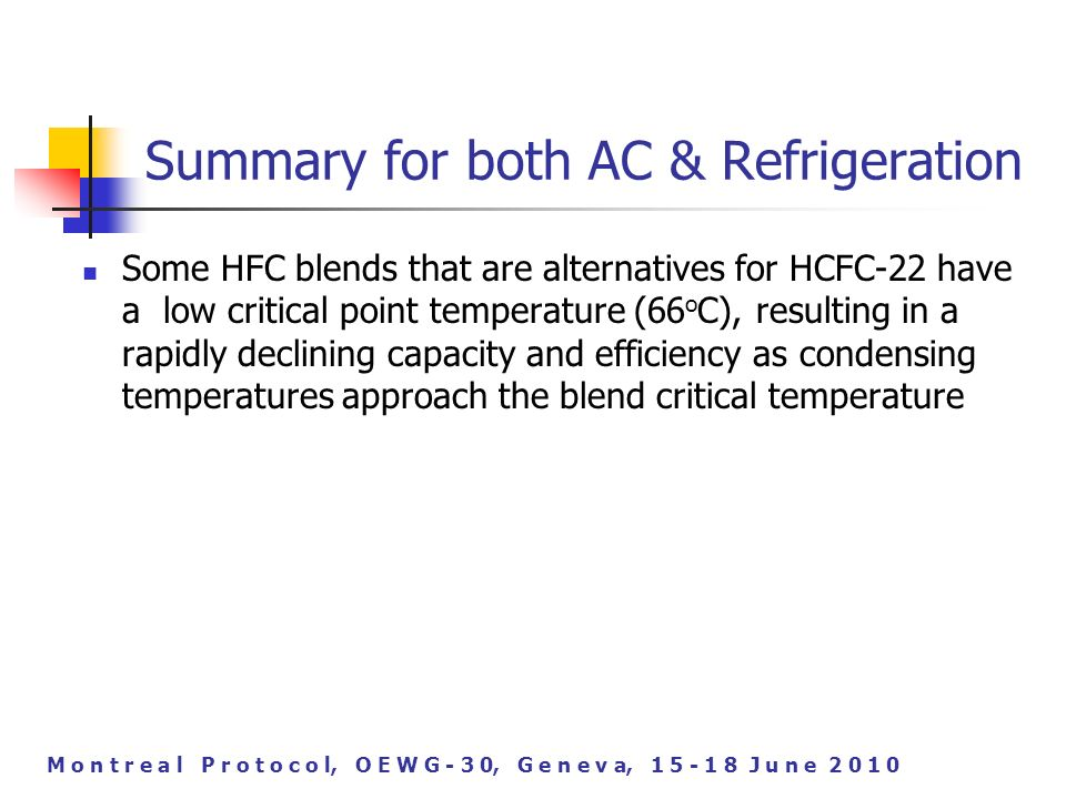 M o n t r e a l P r o t o c o l, O E W G - 3 0, G e n e v a, J u n e Summary for both AC & Refrigeration Some HFC blends that are alternatives for HCFC-22 have a low critical point temperature (66 o C), resulting in a rapidly declining capacity and efficiency as condensing temperatures approach the blend critical temperature