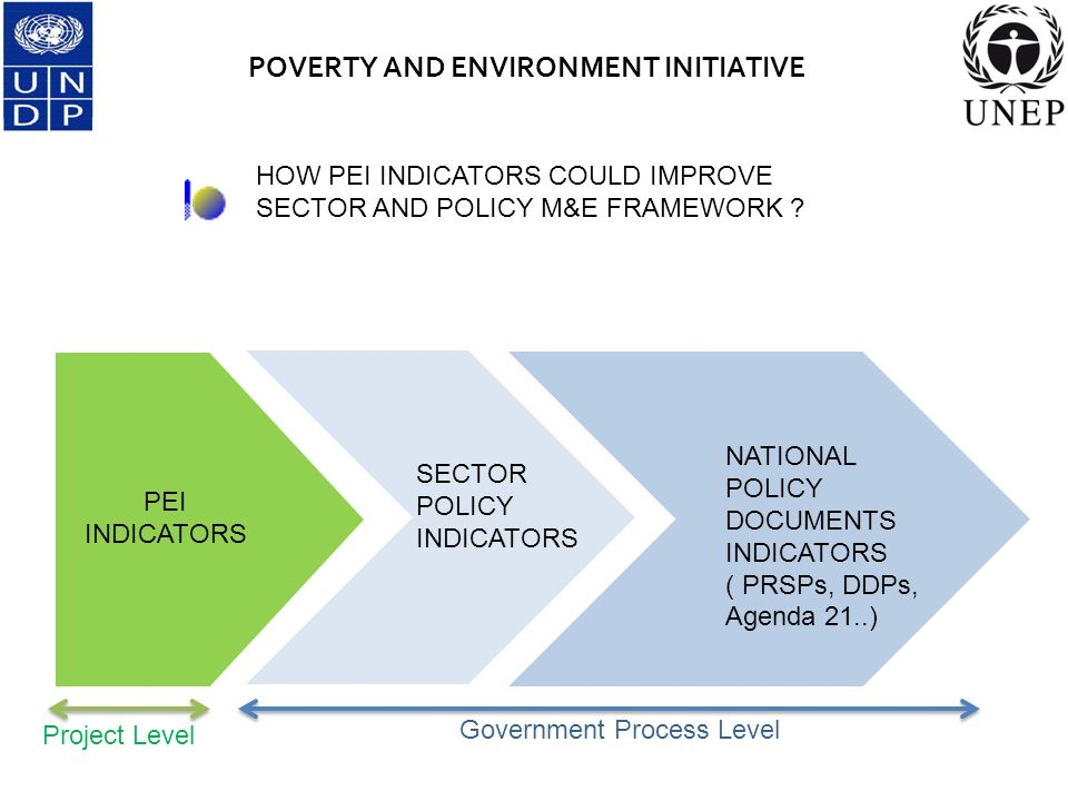 POVERTY AND ENVIRONMENT INITIATIVE SECTOR POLICY INDICATORS NATIONAL POLICY DOCUMENTS INDICATORS ( PRSPs, DDPs, Agenda 21..) PEI INDICATORS HOW PEI INDICATORS COULD IMPROVE SECTOR AND POLICY M&E FRAMEWORK .