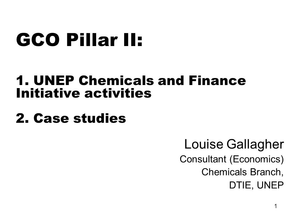 1 GCO Pillar II: 1. UNEP Chemicals and Finance Initiative activities 2.