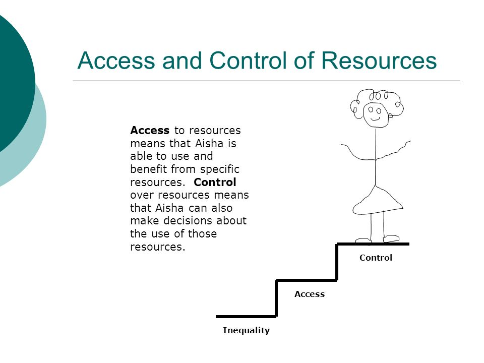 Access and Control of Resources Access to resources means that Aisha is able to use and benefit from specific resources. Control over resources means