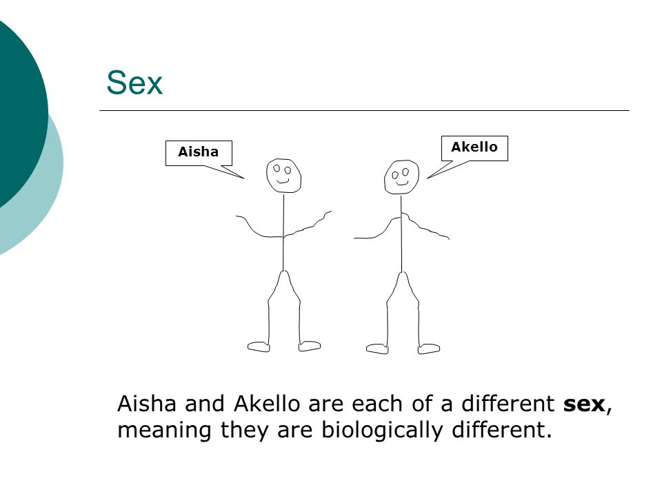 Sex Aisha and Akello are each of a different sex, meaning they are biologically different.