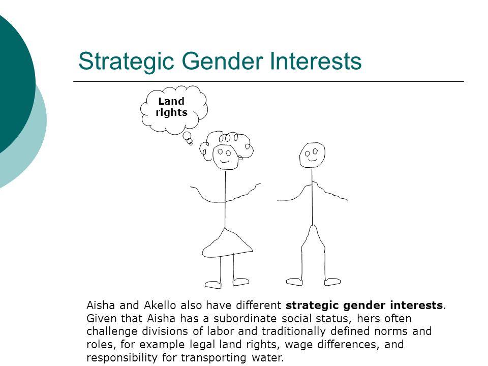 Strategic Gender Interests Aisha and Akello also have different strategic gender interests.