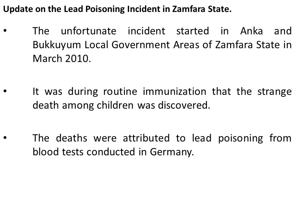 Update on the Lead Poisoning Incident in Zamfara State.