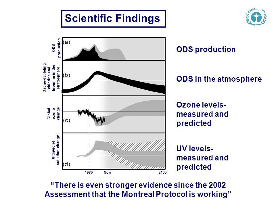 Scientific Findings 1980 Now 2100 ODS production Global ozone change Ultraviolet radiation change (a) (b) (c) (d) ODS production ODS in the atmosphere