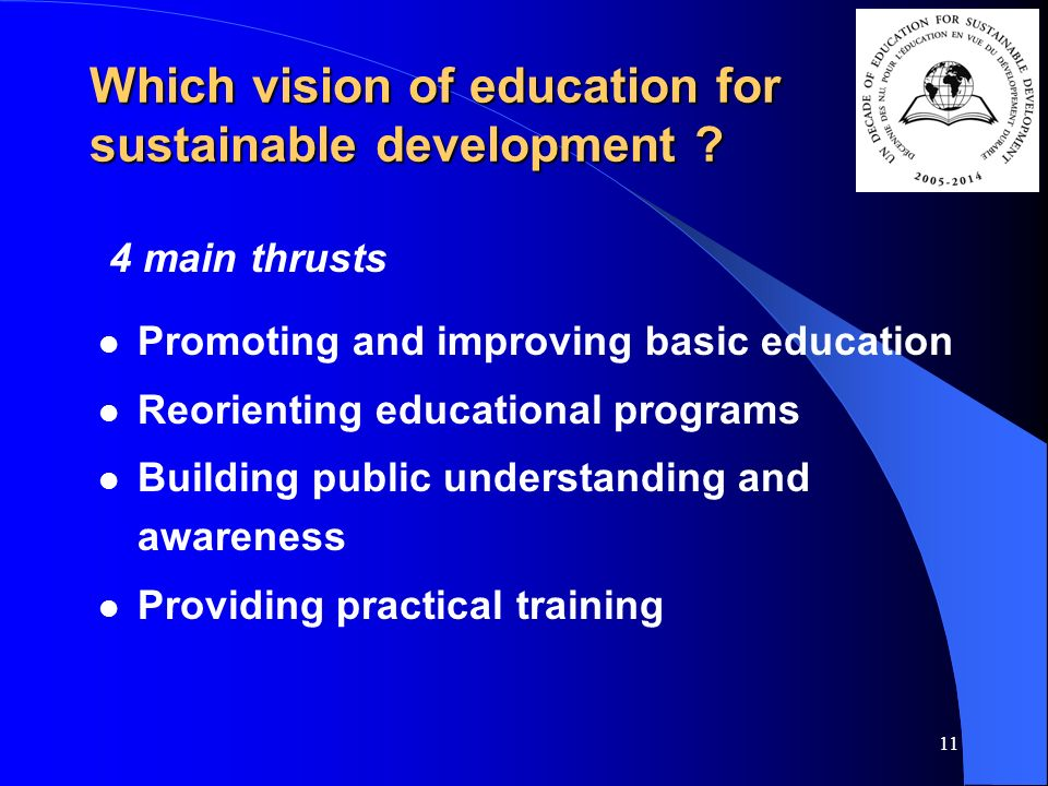 11 Which vision of education for sustainable development .