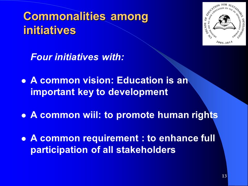 13 Commonalities among initiatives Four initiatives with: A common vision: Education is an important key to development A common wiil: to promote human rights A common requirement : to enhance full participation of all stakeholders