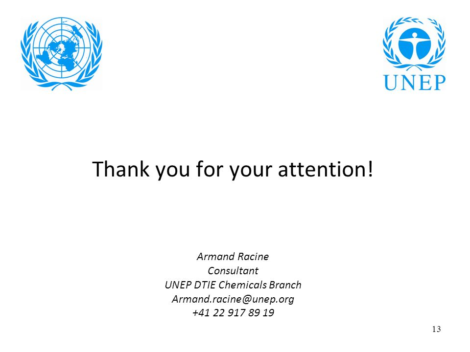 13 Thank you for your attention! Armand Racine Consultant UNEP DTIE Chemicals Branch Armand.racine@unep.org +41 22 917 89 19