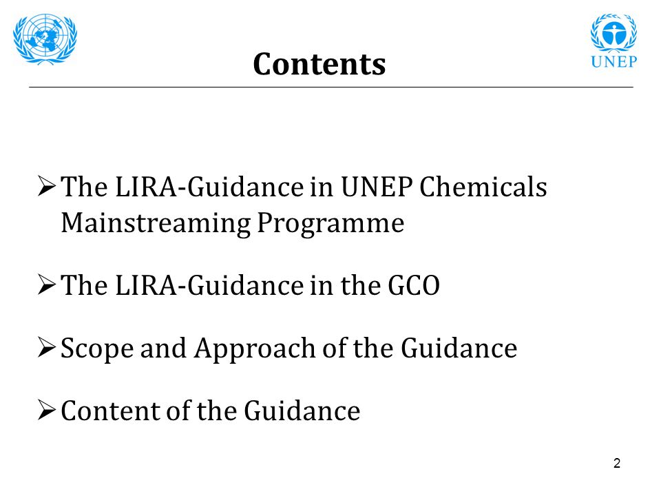 2 Contents The LIRA-Guidance in UNEP Chemicals Mainstreaming Programme The LIRA-Guidance in the GCO Scope and Approach of the Guidance Content of the
