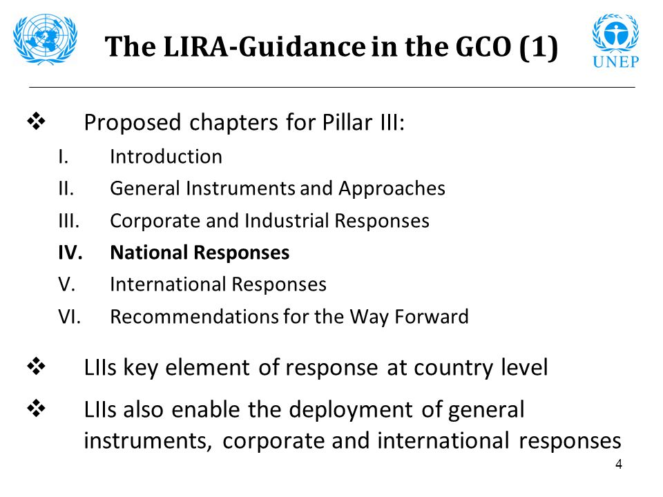4 The LIRA-Guidance in the GCO (1) Proposed chapters for Pillar III: I.Introduction II.General Instruments and Approaches III.Corporate and Industrial