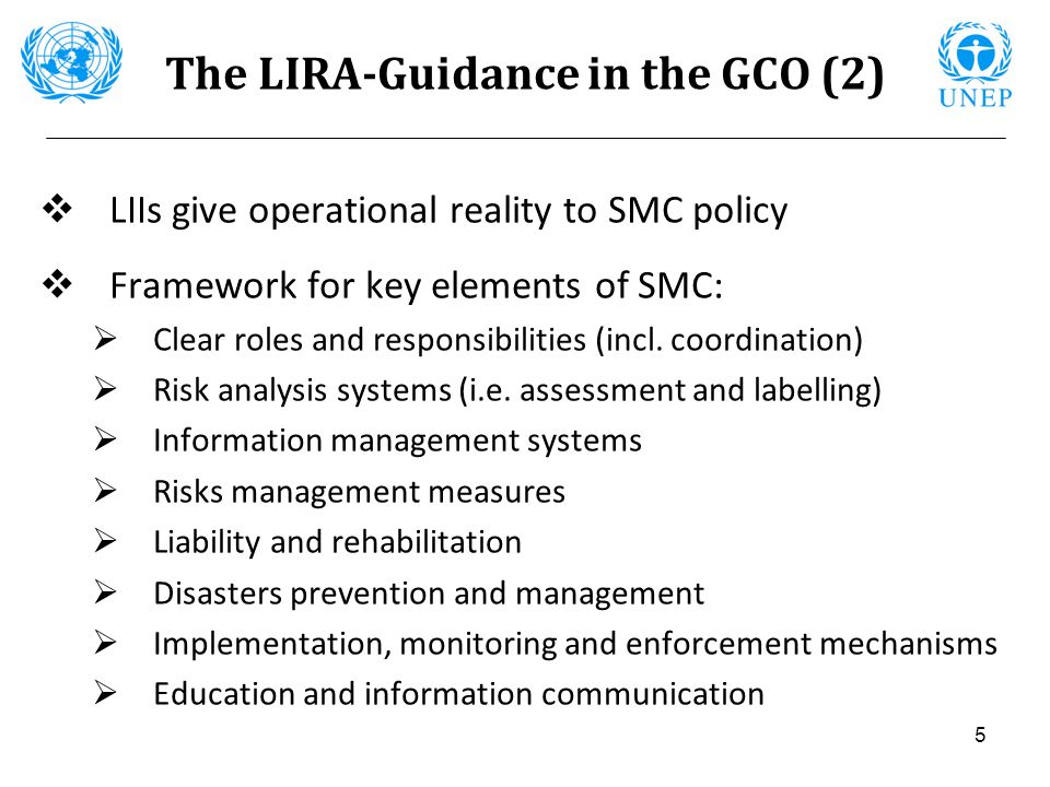 5 The LIRA-Guidance in the GCO (2) LIIs give operational reality to SMC policy Framework for key elements of SMC: Clear roles and responsibilities (in