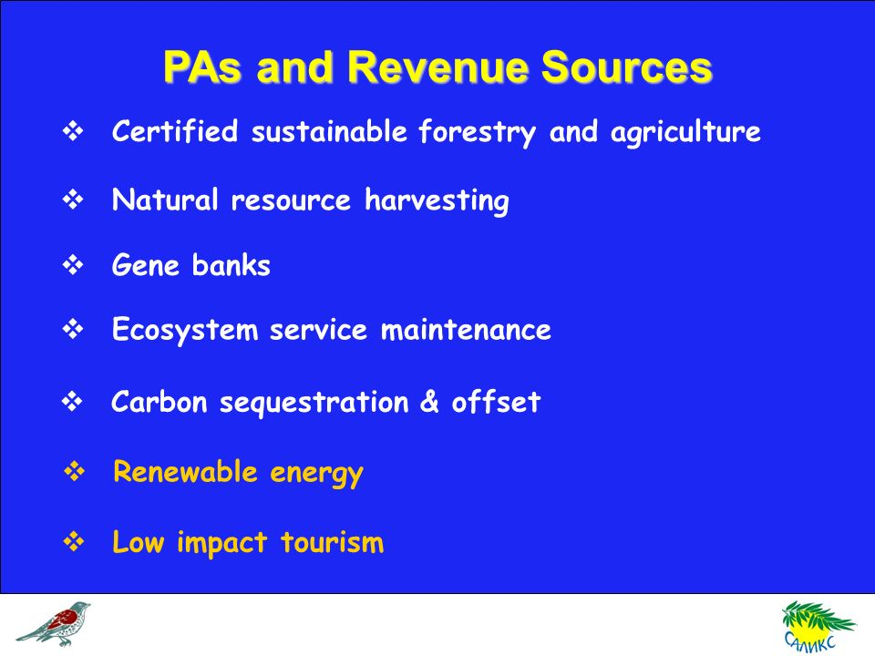 PAs and Revenue Sources Certified sustainable forestry and agriculture Natural resource harvesting Gene banks Ecosystem service maintenance Carbon sequestration & offset Renewable energy Low impact tourism