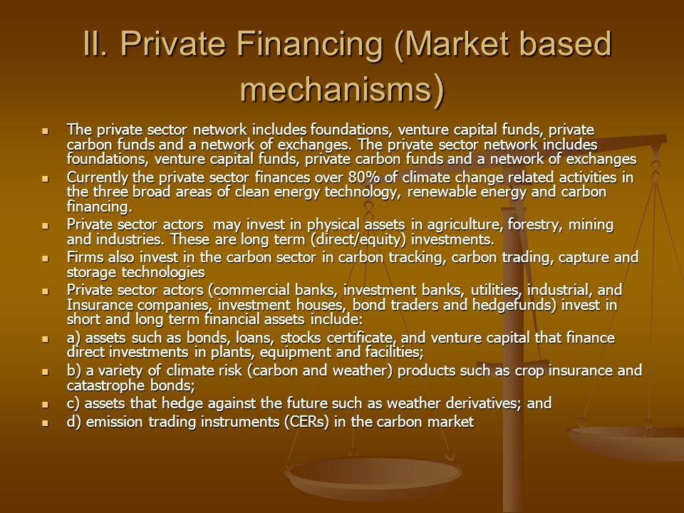 II.Private Financing (Market based mechanisms ) II.