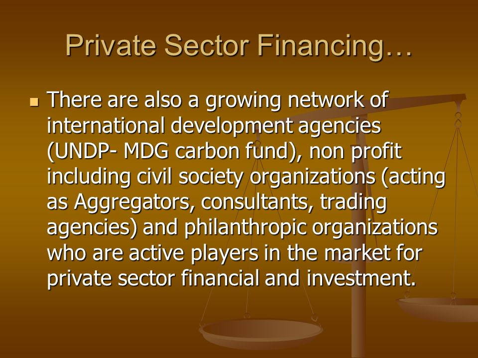 Private Sector Financing… There are also a growing network of international development agencies (UNDP- MDG carbon fund), non profit including civil society organizations (acting as Aggregators, consultants, trading agencies) and philanthropic organizations who are active players in the market for private sector financial and investment.