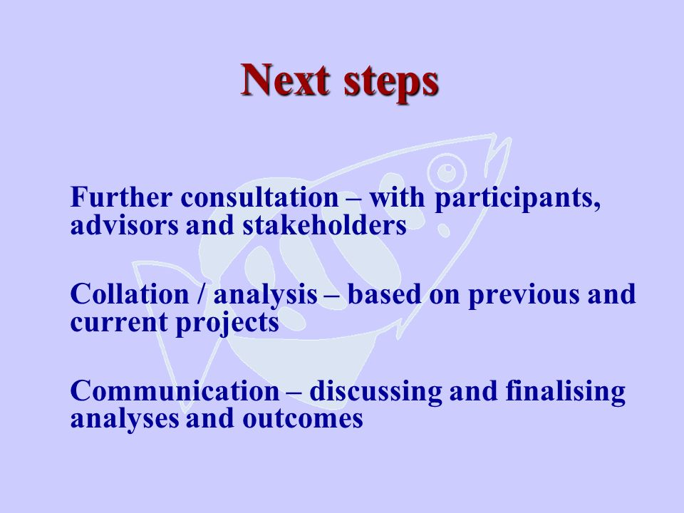 Next steps Further consultation – with participants, advisors and stakeholders Collation / analysis – based on previous and current projects Communica
