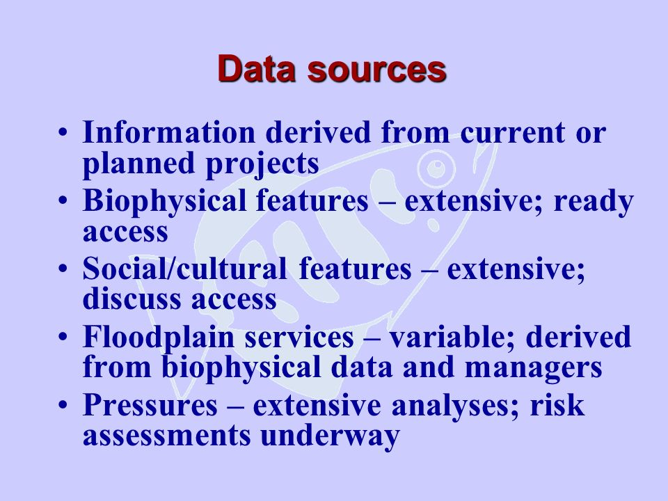 Data sources Information derived from current or planned projects Biophysical features – extensive; ready access Social/cultural features – extensive; discuss access Floodplain services – variable; derived from biophysical data and managers Pressures – extensive analyses; risk assessments underway