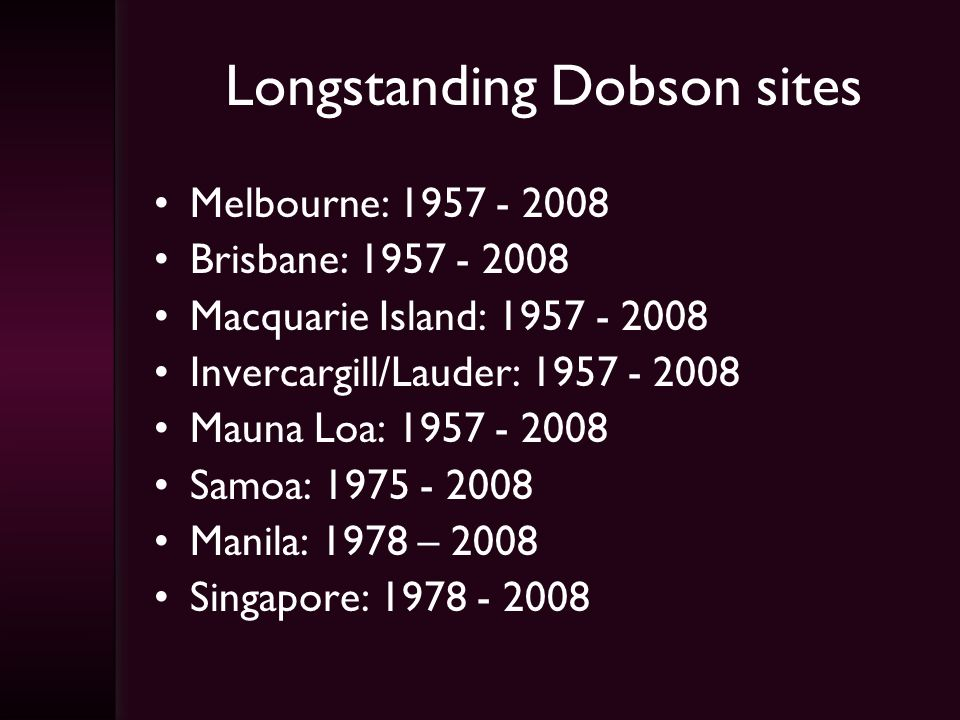 Longstanding Dobson sites Melbourne: 1957 - 2008 Brisbane: 1957 - 2008 Macquarie Island: 1957 - 2008 Invercargill/Lauder: 1957 - 2008 Mauna Loa: 1957