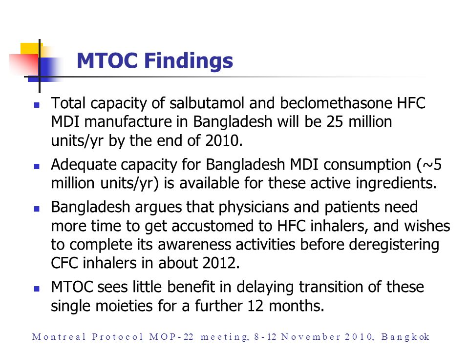 Total capacity of salbutamol and beclomethasone HFC MDI manufacture in Bangladesh will be 25 million units/yr by the end of 2010. Adequate capacity fo