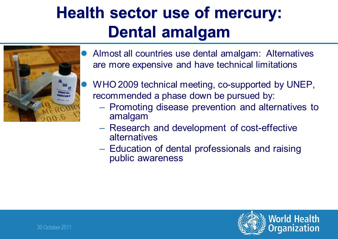 30 October 2011 Health sector use of mercury: Dental amalgam Almost all countries use dental amalgam: Alternatives are more expensive and have technical limitations WHO 2009 technical meeting, co-supported by UNEP, recommended a phase down be pursued by: –Promoting disease prevention and alternatives to amalgam –Research and development of cost-effective alternatives –Education of dental professionals and raising public awareness
