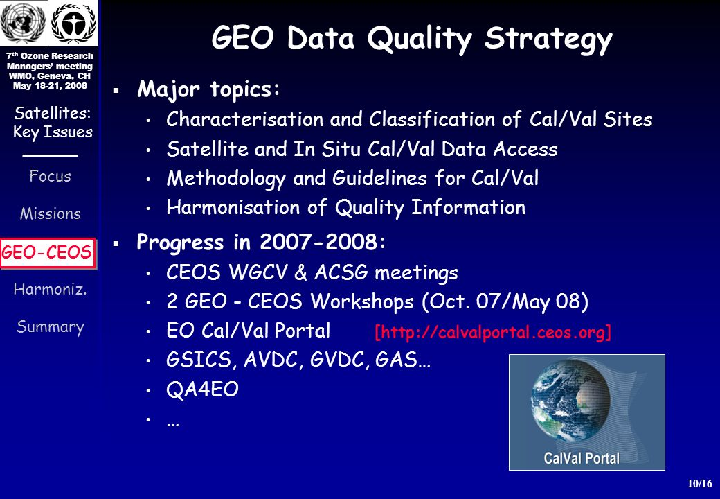 7 th Ozone Research Managers meeting WMO, Geneva, CH May 18-21, 2008 10/16 Focus Missions GEO-CEOS Harmoniz.