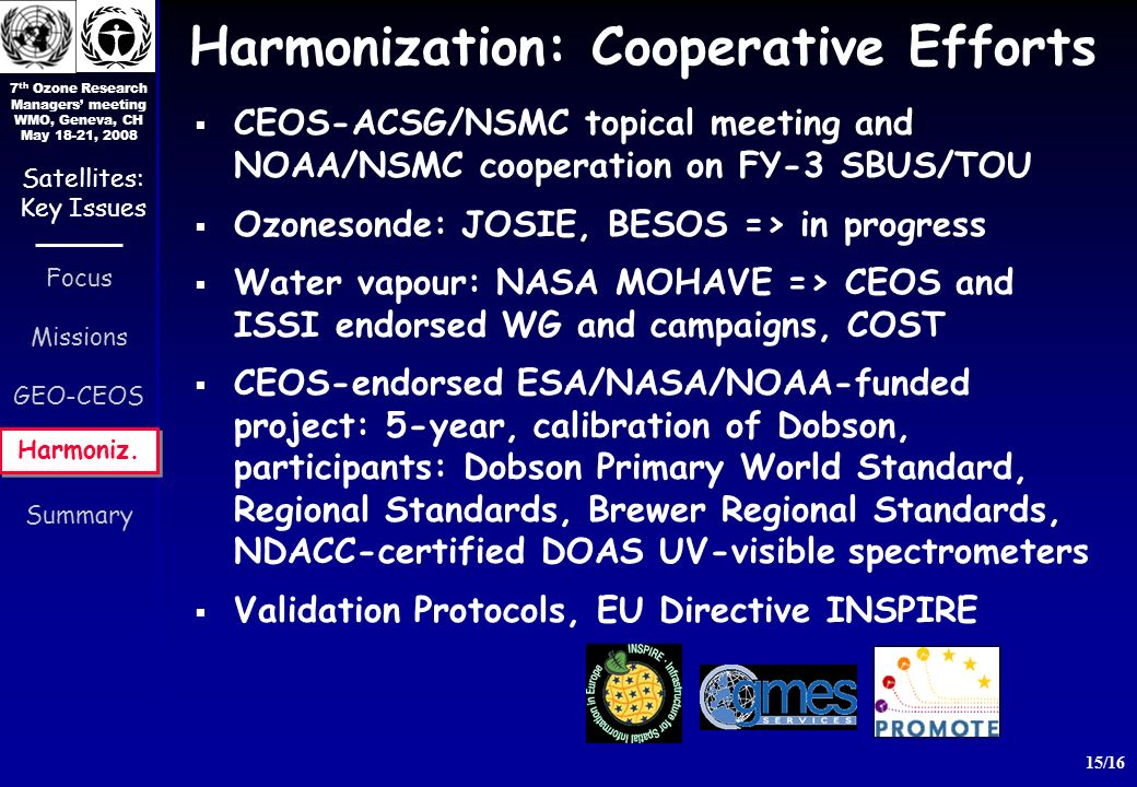 7 th Ozone Research Managers meeting WMO, Geneva, CH May 18-21, 2008 15/16 Focus Missions GEO-CEOS Harmoniz.