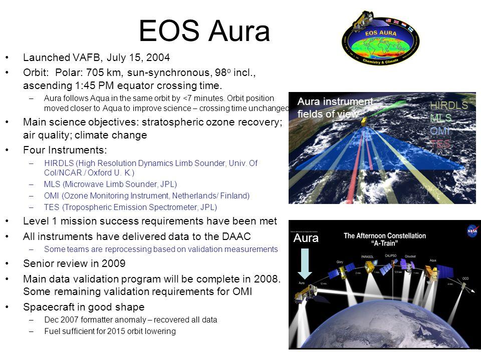 EOS Aura Launched VAFB, July 15, 2004 Orbit: Polar: 705 km, sun-synchronous, 98 o incl., ascending 1:45 PM equator crossing time. –Aura follows Aqua i