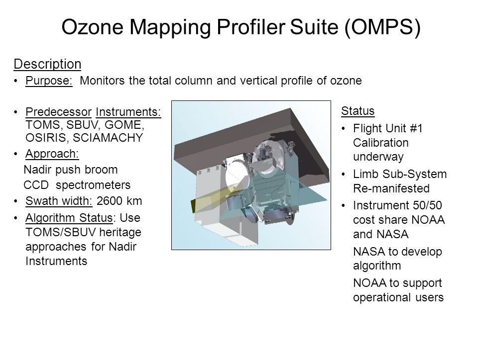 Ozone Mapping Profiler Suite (OMPS) Description Purpose: Monitors the total column and vertical profile of ozone Predecessor Instruments: TOMS, SBUV,