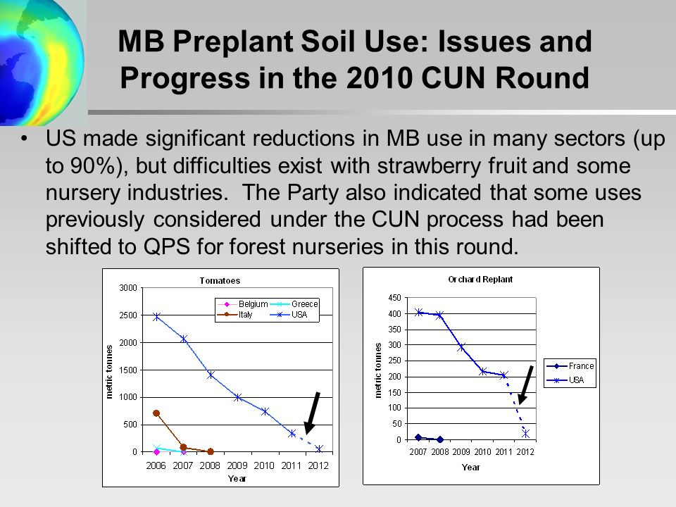 US made significant reductions in MB use in many sectors (up to 90%), but difficulties exist with strawberry fruit and some nursery industries.