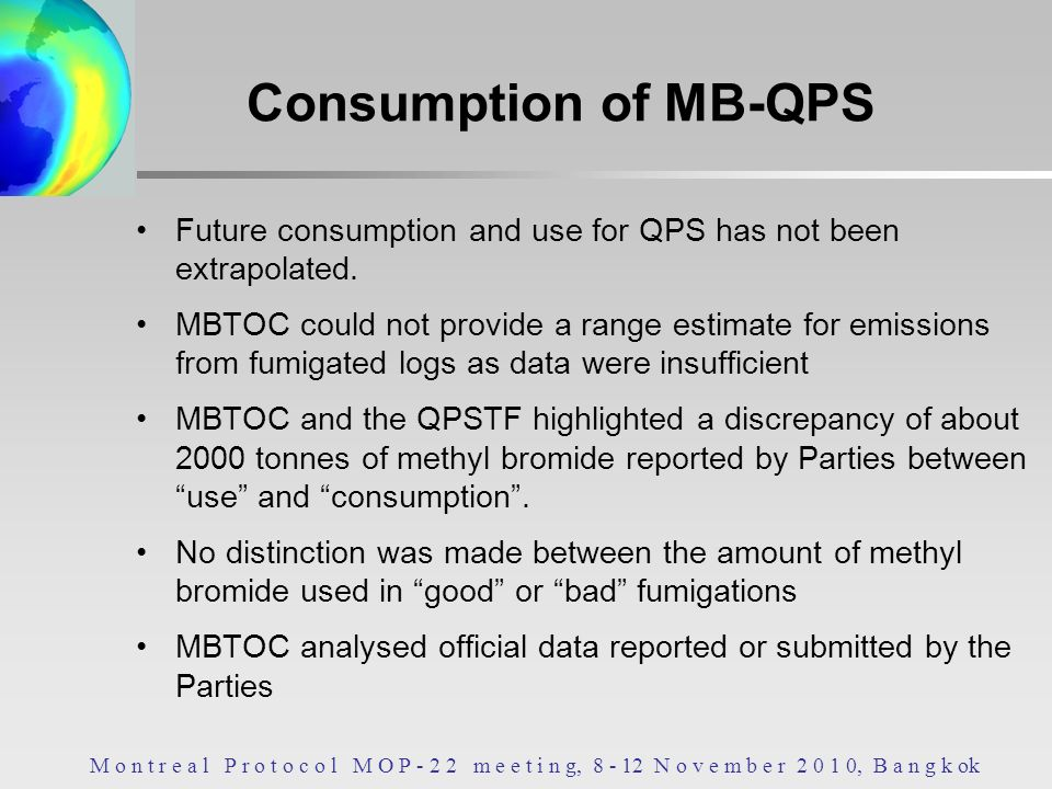 Consumption of MB-QPS Future consumption and use for QPS has not been extrapolated.