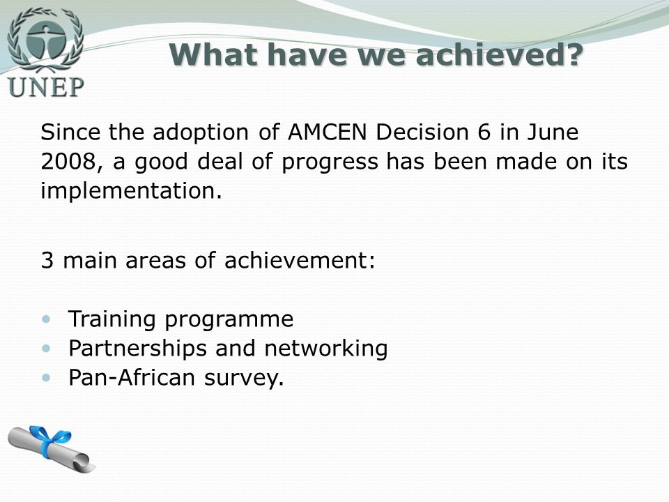 What have we achieved? Since the adoption of AMCEN Decision 6 in June 2008, a good deal of progress has been made on its implementation. 3 main areas